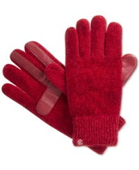 Isotoner Signature Chenille Knit Palm Tech Touch Gloves Red
