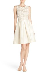 Women's Taylor Dresses Embroidered Mesh And Shantung Fit And Flare Dress