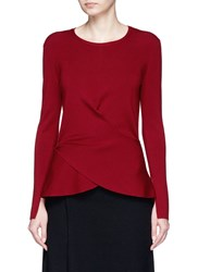Mo And Co. Edition 10 Crossover Wrap Front Wool Blend Sweater Red