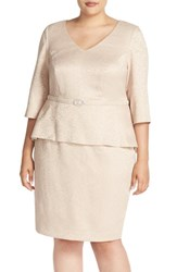 Alex Evenings Plus Size Women's Mock Two Piece V Neck Peplum Dress