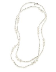 Carolee The Rockettes Faux Pearl Rope Necklace White