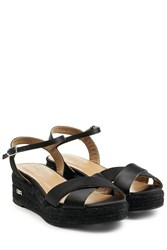 Sonia Rykiel Satin Sandals With Raffia Black
