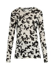 Proenza Schouler Abstract Floral Print Long Sleeved Cotton T Shirt Cream Multi