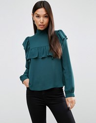 Asos High Neck Blouse With Ruffle And Sheer Bib Forest Green