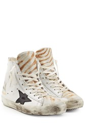 Golden Goose Francy Leather And Haircalf High Top Sneakers White