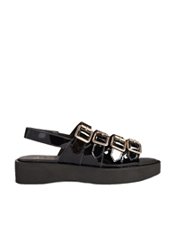F Troupe 4 Strap Flatform Sandals Black