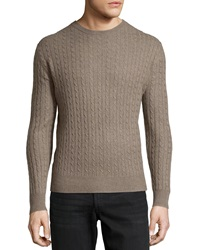 Neiman Marcus Cashmere Cable Knit Pullover Sweater Toast