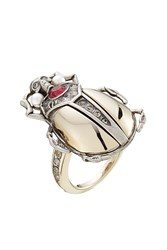 Alexander Mcqueen Embellished Beetle Ring Silver