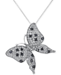 Effy Collection Effy Black And White Diamond Butterfly Pendant Necklace In 14K White Gold 2 Ct. T.W.