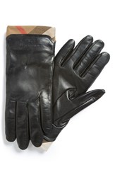 Women's Burberry 'Jenny House Check' Touch Tech Leather Gloves