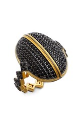 Women's Freida Rothman 'Harlequin Edge' Pave Dome Ring Gold Black