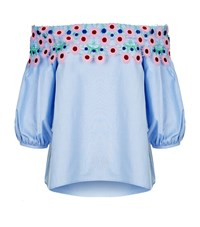 Peter Pilotto Lace Pallas Off The Shoulder Blouse Female Blue