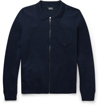 A.P.C. Wool Zip Up Sweater Navy