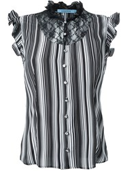 Guild Prime Striped Ruffled Lace Button Down Sleeveless Shirt Black