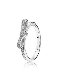 Pandora Design Pandora Ring Sterling Silver And Cubic Zirconia Sparkling Bow