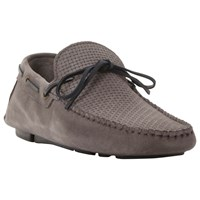 Bertie Benzel Woven Laced Driving Loafers Grey