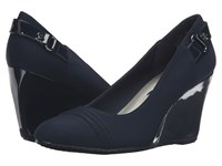 Anne Klein Tee Navy Navy Fabric Women's Shoes Blue