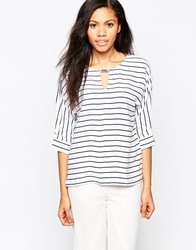 B.Young Striped 3 4 Sleeve Top Parisian Night