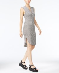 Material Girl Striped Lace Up Rib Knit Tank Dress Only At Macy's Cloud Dancer