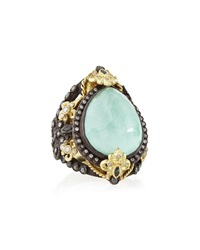 Armenta Old World Pear Green Turquoise Doublet Ring