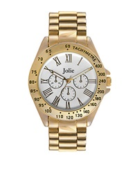 Jolie Ladies Goldtone Watch With Chain Link Bracelet