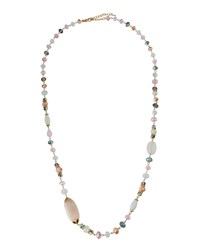 Emily And Ashley Greenbeads By Emily And Ashley Long Golden Multicolored Crystal Necklace Pink