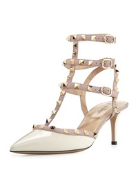 Valentino Rockstud Patent Leather Pump White Nude