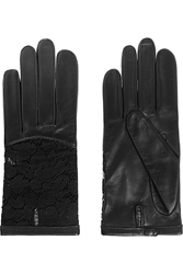 Nina Ricci Leather And Lace Gloves Black