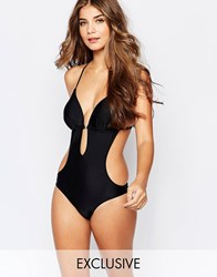 South Beach Macrame Back Swimsuit Black