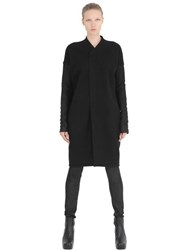 Rick Owens Blister Leather And Wool Coat