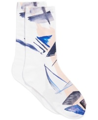 Vince Camuto Women's Printed Trouser Socks Sail