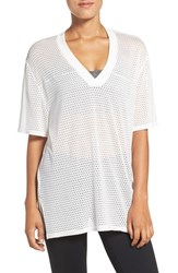 Free People Women's V Neck Mesh Tee White