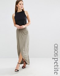 Asos Petite Wrap Maxi Skirt In Jersey Khaki Green