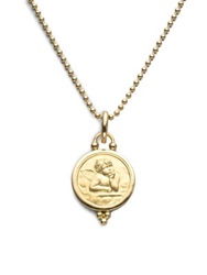 Temple St. Clair Angel 18K Yellow Gold Medium Pendant No Color