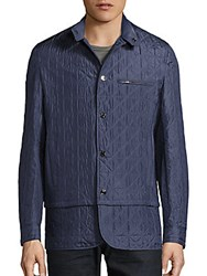 Brioni Quilted Convertible Silk Jacket Blue