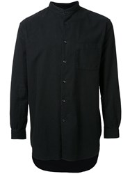 Gold Flannel Band Collar Shirt Black