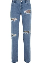 House Of Holland Distressed Lace Appliqued High Rise Boyfriend Jeans Blue