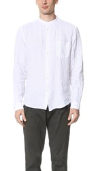 Hartford Band Collar Linen Shirt White