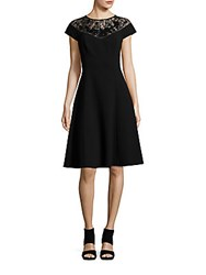 Teri Jon Short Sleeve Crewneck Dress Black