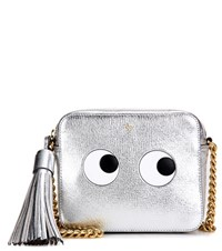 Anya Hindmarch Eyes Right Metallic Leather Cross Body Bag Silver