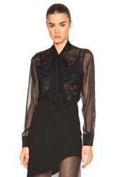 Prabal Gurung Embroidered Bow Blouse In Black
