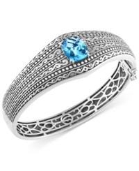 Effy Collection Balissima By Effy Blue Topaz Etched Bangle Bracelet 6 2 3 Ct. T.W. In Sterling Silver