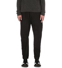 Isabel Benenato Distressed Leather And Virgin Wool Jogging Bottoms Black