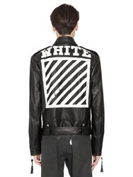 Off White Stripes Print Nappa Leather Biker Jacket
