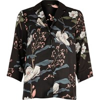 River Island Womens Black Floral Print Cocktail Shirt
