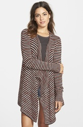 Volcom 'Swayed' Stripe Open Front Cardigan Black