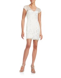 French Connection Embellished Lace Bodycon Dress Summer White