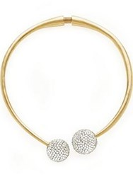 Kenneth Jay Lane Crystal Pave Ball Collar Gold Plated Silver