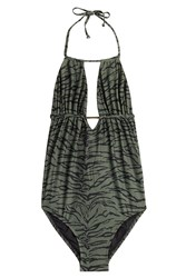 Melissa Odabash Printed Maillot Bathing Suit Green