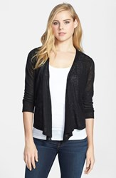 Nic Zoe Petite Women's '4 Way' Convertible Three Quarter Sleeve Cardigan Black Onyx